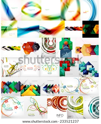 Set of Abstract Backgrounds, Business or Technology Templates, Online Geometric Triangular, Wave, Floral Abstract Modern Backgrounds - stock vector