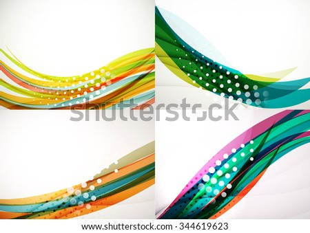 Set of abstract backgrounds. Elegant colorful decorated lines and waves with copyspace for your message. Banner advertising layouts - templates and wallpapers - stock vector