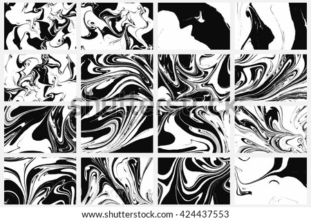 Set of abstract backgrounds. Ink marbling textures. Black and white. Hand drawn marble illustrations, ebru aqua paper and silk prints. Traditional Turkish ebru technique. Painting on water. - stock vector