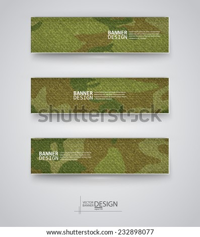 Set of abstract banner with khaki background. Vector illustration. - stock vector