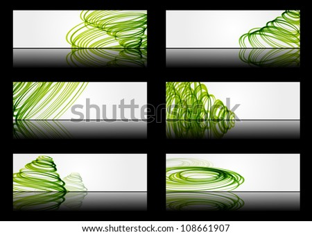 Set of abstract banners with green lines - stock vector