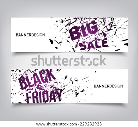 Set of abstract big sale, black friday destroy lines / explosion background banners, clean and modern style design. Vector eps 10  - stock vector