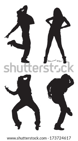 Set of Abstract black and white dancing figures - stock vector