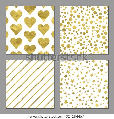 Set of 4  abstract bright  golden cards with confetti, stars, stripes and hearts. Vector illustration.Shiny background. Texture of gold foil.  - stock vector