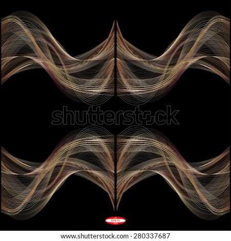 set of abstract bronze line ginger wave brown band isolated on black background. vector illustration - stock vector