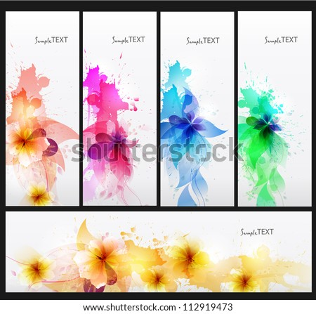 Set of abstract cards with flowers colorful elements with blots. Vector design.vertical - stock vector