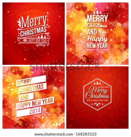 Set of abstract Christmas and Happy New Year cards. Winter holidays design. Vector illustration. - stock vector