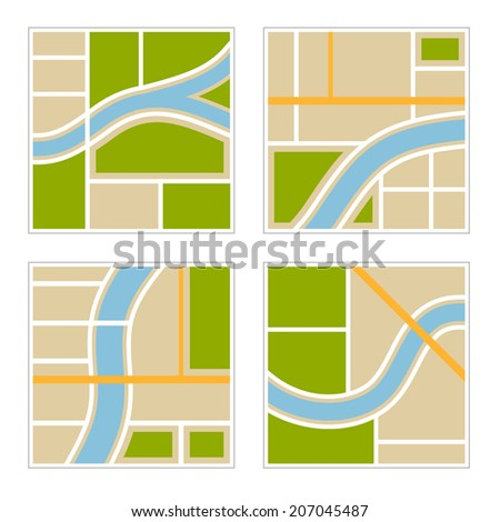 Set of Abstract City Map Illustration. Vector illustration - stock vector
