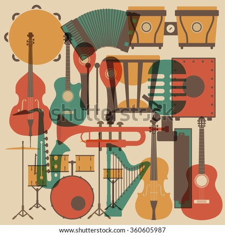 set of abstract classical music instrument icon, retro style - stock vector