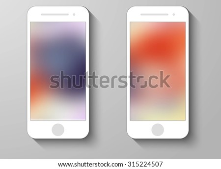 Set of Abstract Color Mobile Phones Blurred Backgrounds. Collection of Technology Wallpaper Designs. Vector Illustrations. - stock vector