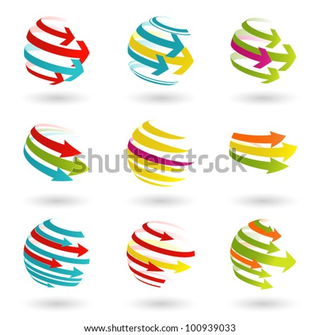 Set of abstract colordul arrow icon. Vector  illustration. - stock vector