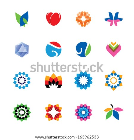 Set of abstract, colorful icons - stock vector
