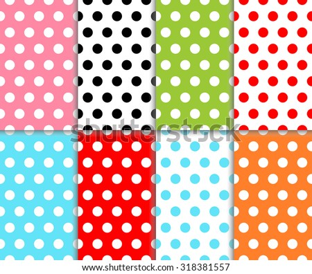 Set of abstract colorful polka dot seamless geometric pattern. Red, light blue, orange, green, pink and black color dotted design. Vector art image illustration background wall paper collection, eps10 - stock vector