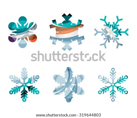 Set of abstract colorful snowflake logo icons, winter concepts, clean modern geometric design. Created with transparent abstract lines - stock vector