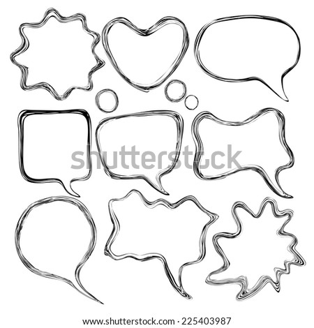 Set of abstract comic speech vector draw bubbles - stock vector