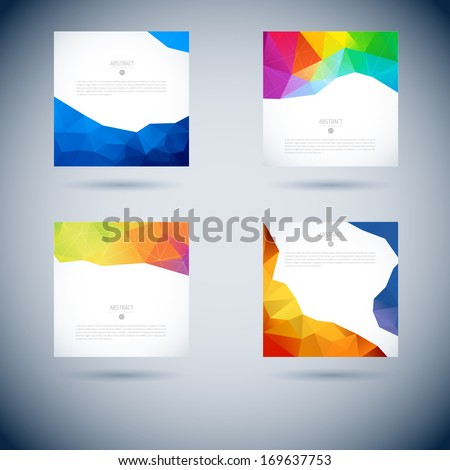 Set of Abstract 3D geometric colorful vector background  - stock vector