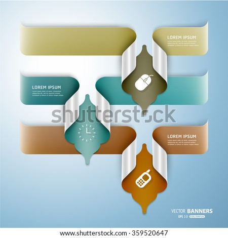Set of 3 abstract 3d pale colorful banners with Islamic floral folded elements, easy to recolor - stock vector