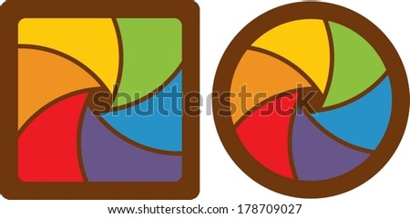 set of abstract design almost closed shutter apertures.  - stock vector