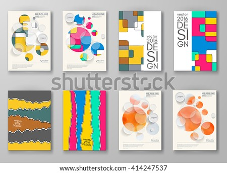 Set of abstract design templates. Brochures unusual color shapes style. Vintage frames and backgrounds. Vector Illustration. - stock vector