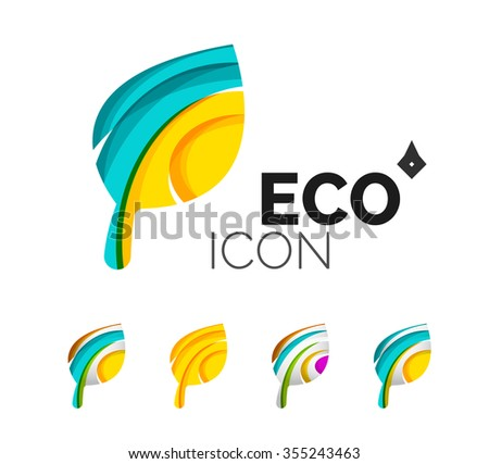 Set of abstract eco leaf icons, business logotype nature concepts, clean modern geometric design. Created with transparent abstract wave lines - stock vector