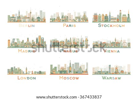 Set of 9 Abstract Europe City Skyline. Vector Illustration. Skyline with World Landmarks. Business travel and tourism concept. Image for presentation, banner, placard and web site. - stock vector