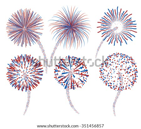 Set of abstract fireworks, EPS 10 contains transparency. - stock vector