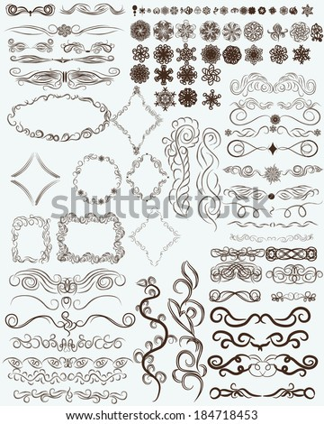 set of abstract floral ornaments for your use. Multifunctional universal collection. Branches, swirls, flowers, patterns, lace, and other design elements - stock vector