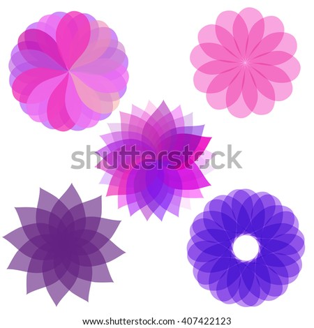 set of abstract flowers - stock vector