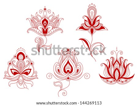 Set of abstract flowers in persian and indian floral motifs style for design. Jpeg version also available in gallery - stock vector