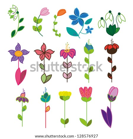Set Of Abstract Flowers Isolated On White Background - Vector Illustration, Graphic Design Editable For Your Design With Different Shape. Springtime Flowers - stock vector