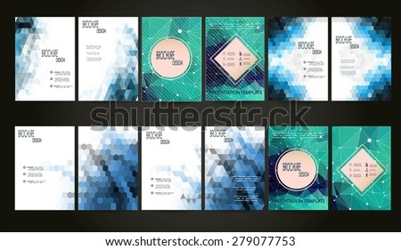 Set of 12 Abstract Flyer Geometric Triangular Green and Blue Modern Backgrounds - EPS10 Brochure Design Templates, Flyer Template Clean and Modern Concept , A4 format - stock vector
