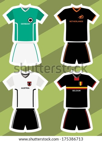 set of abstract football jerseys, Germany, Netherlands, Austria and Belgium  - stock vector