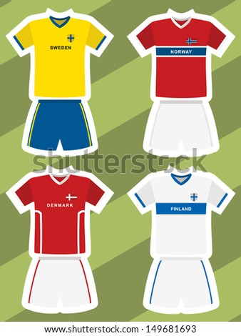 set of abstract football jerseys, sweden, norway, denmark and finland - stock vector
