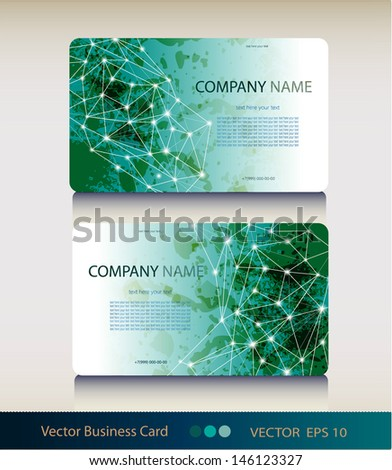 Set of abstract geometric business card - stock vector