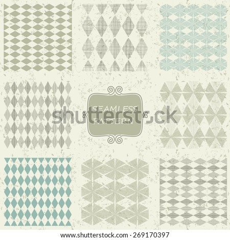 set of 8 abstract geometric seamless pattern on shabby background - stock vector