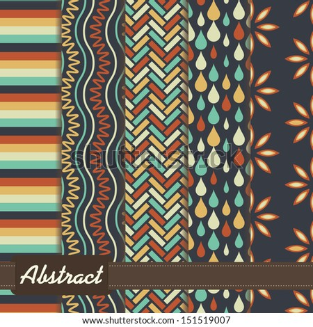 set of abstract geometric seamless patterns blue orange - stock vector