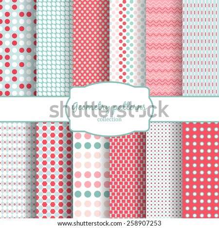 Set of abstract geometric seamless patterns. Polka dots and wavy, line. Vector illustration - stock vector