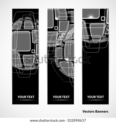 set of abstract globe technology Design background banners - stock vector
