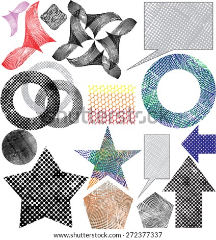 Set of abstract grunge background with halftone effect. (new style out of the ordinary geometric effect halftone). Tool for designers. vector art illustration. - stock vector
