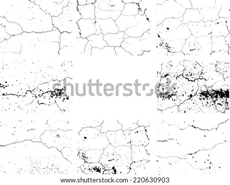 Set of Abstract Grunge Black and White Texture , Distress Texture , Crack Texture ,  Vector Design Illustration.  - stock vector