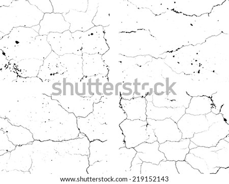 Set of abstract grunge black and white texture. Distressed texture.Cracked texture. Scratch texture. Vector design illustration. - stock vector