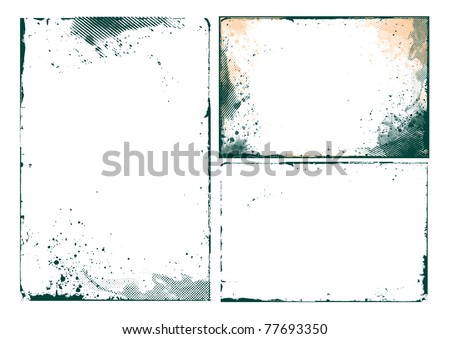 set of abstract grunge border design element - vector - stock vector