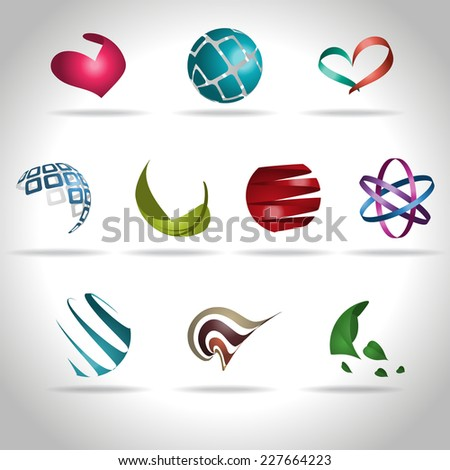 Set of abstract icons, vector illustration - stock vector