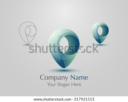 Set of abstract modern logo design. Creative map pointer icon. Vector illustration - stock vector