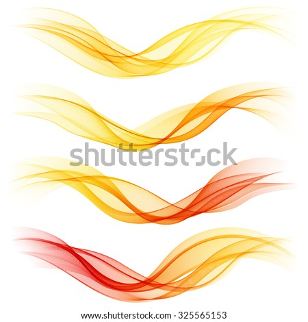 Set of abstract orange waves. Vector illustration EPS 10 - stock vector