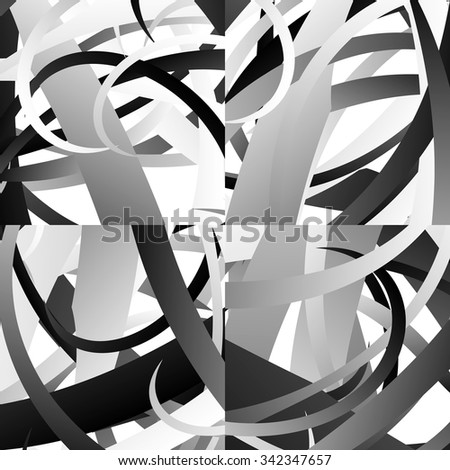Set of 4 abstract pattern, texture or background with curved scattered shapes - stock vector