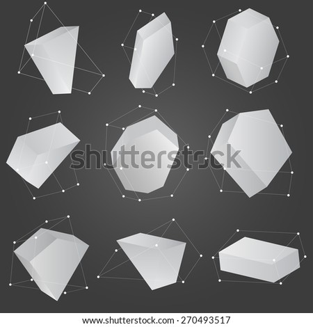 Set of abstract polygonal geometric shape. low poly and minimal style. Vector illustration. - stock vector