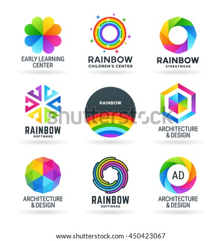 Set of abstract rainbow symbols and colorful logo design elements (2) - stock vector