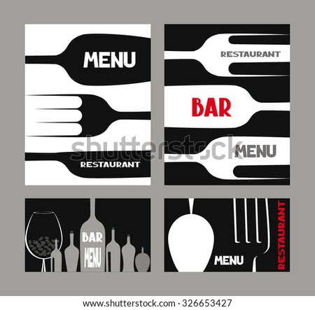 Set of abstract restaurant menu cards - stock vector