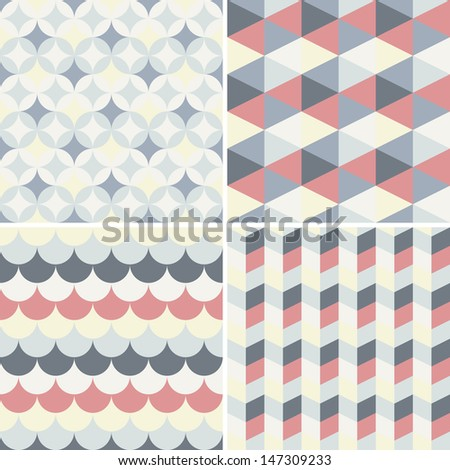 set of abstract retro geometric pattern for design - stock vector